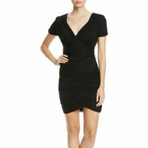 Halston Heritage Ruched Short Sleeve Jersey dress